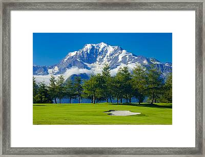 Golf Course In The Mountains - Riederalp Swiss Alps Switzerland Framed Print by Matthias Hauser