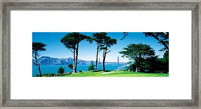 Golf Course W\ Golden Gate Bridge San Framed Print by Panoramic Images