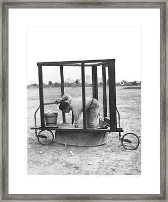 Golf Driving Range Safety Cart Framed Print by Underwood Archives
