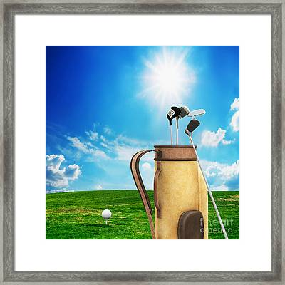 Golf Equipment And Ball On Golf Course Framed Print by Michal Bednarek