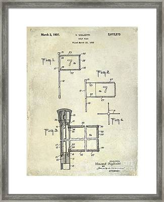 1937 Golf Flag Patent Drawing 2 Framed Print by Jon Neidert