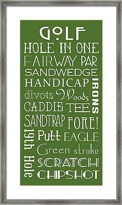 Golf Terms Framed Print by Jaime Friedman