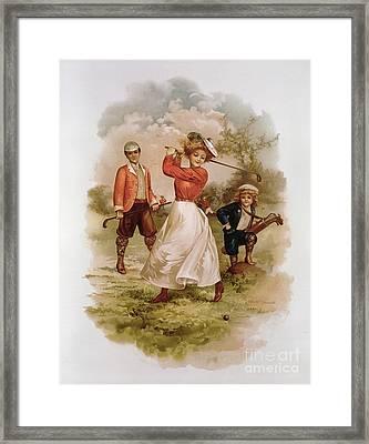 Golfing Framed Print by Ellen Hattie Clapsaddle
