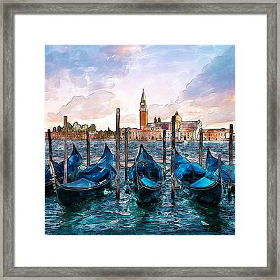 Gondolas In Venice Watercolor Framed Print by Marian Voicu