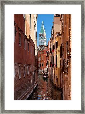 Gondolas On Canal With Piazza San Marco Framed Print by Brian Jannsen