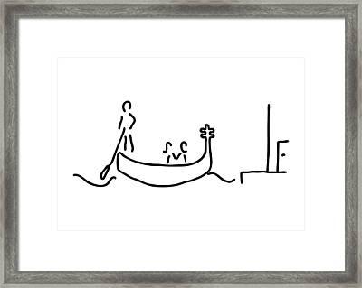 gondolier in gondola in Venice Framed Print by Lineamentum