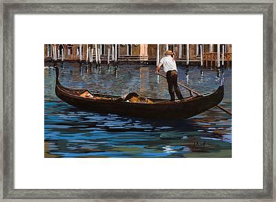 Gondoliere Sul Canale Framed Print by Guido Borelli