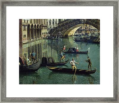 Gondoliers Near The Rialto Bridge, Venice Oil On Canvas Detail Of 155335 Framed Print by Canaletto