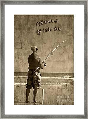 Gone Fish'in Text By John Stephens Framed Print by John Stephens