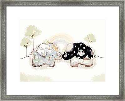 Good Karma Elephants Framed Print by Karin Taylor