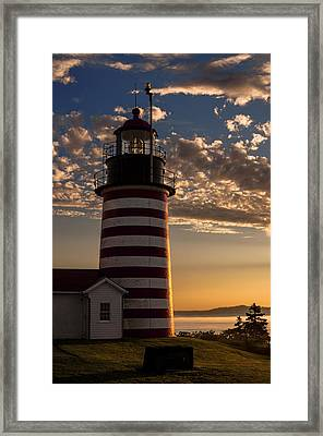 Good Morning West Quoddy Head Lighthouse Framed Print by Marty Saccone