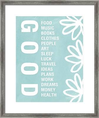 Good Things Blue Framed Print by Linda Woods