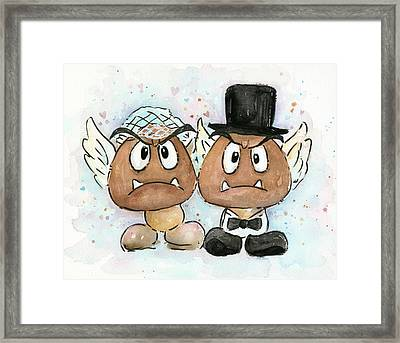 Goomba Bride And Groom Framed Print by Olga Shvartsur