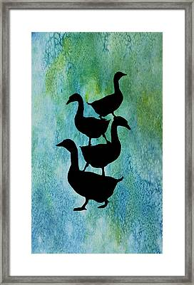 Goose Pile On Aqua Framed Print by Jenny Armitage