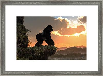 Gorilla Sunset Framed Print by Daniel Eskridge