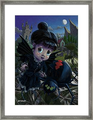 Goth Girl Fairy With Spider Widow Framed Print by Martin Davey