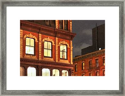 Gotham By Night - New York City Framed Print by Mark E Tisdale