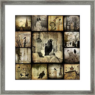 Gothic And Crows Framed Print by Gothicolors Donna
