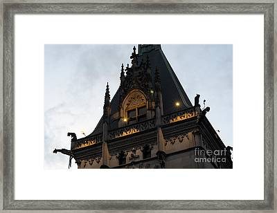 Gothic Biltmore Estate Mansion Gargoyles - Biltmore Estate Mansion Gothic Rooftop Architecture Framed Print by Kathy Fornal