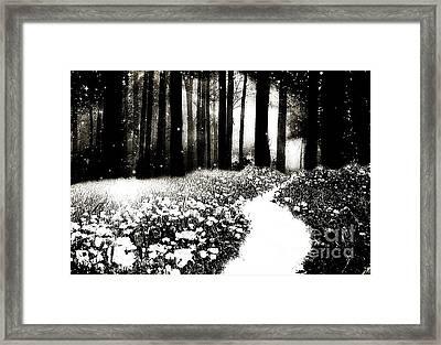 Gothic Dark Black White Surreal Woodlands Path Framed Print by Kathy Fornal