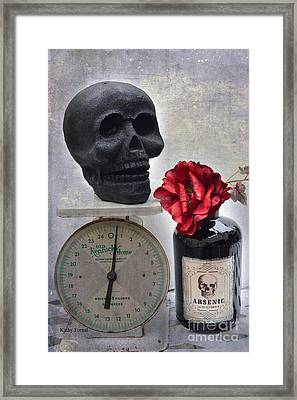 Gothic Fantasy Spooky Halloween Black Skull And Arsenic Bottle With Rose Framed Print by Kathy Fornal