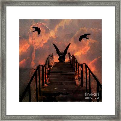 Gothic Gargoyle On Staircase Into Clouds With Flying Ravens - Surreal Gothic Gargoyle And Ravens Framed Print by Kathy Fornal