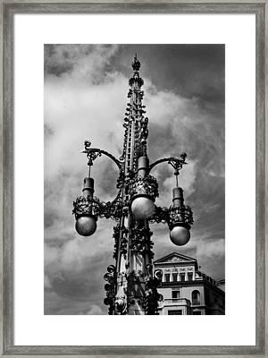 Gothic Lamp Post In Barcelona Framed Print by Denise Dube