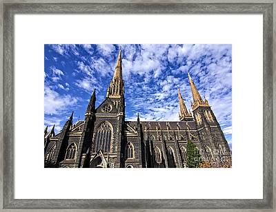 Gothic Revival Style St Patrick's Cathedral In Melbourne Framed Print by Beverly Claire Kaiya