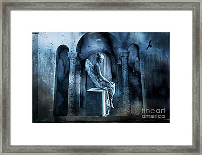 Gothic Surreal Angel In Mourning With Ravens Framed Print by Kathy Fornal