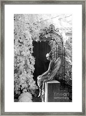 Gothic Surreal Black And White Infrared Angel Statue Sitting In Mourning Sadness Outside Mausoleum  Framed Print by Kathy Fornal