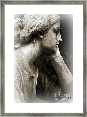 Gothic Surreal Cemetery Mourner Female Face - Mourning Female Statue Crying Tears - Sad Angel Art Framed Print by Kathy Fornal