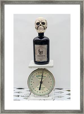 Gothic Surreal Fantasy Skull And Arsenic Bottle On Vintage Scale - Spooky Dark Gothic Halloween Art Framed Print by Kathy Fornal