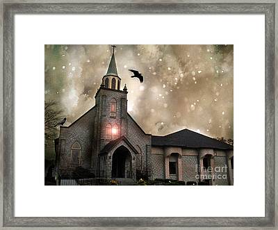 Gothic Surreal Haunted Church And Steeple With Crows And Ravens Flying  Framed Print by Kathy Fornal