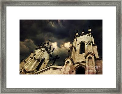 Gothic Surreal Haunting Church Steeple With Cross - Dark Gothic Church Black Spooky Midnight Sky Framed Print by Kathy Fornal