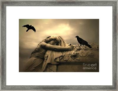 Gothic Surreal Haunting Female Cemetery Draped Over Coffin With Black Ravens Framed Print by Kathy Fornal