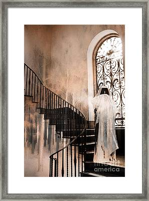 Gothic Surreal Spooky Grim Reaper On Steps Framed Print by Kathy Fornal