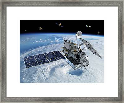Gpm Rainfall Satellite Framed Print by Nasa/goddard/britt Griswold