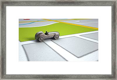 Gps Map With Metal Toy Car Framed Print by Allan Swart