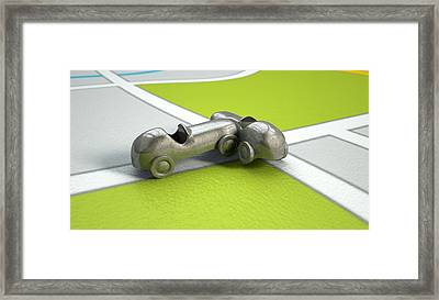 Gps Map With Toy Car Collision Framed Print by Allan Swart