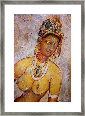 Graceful Apsara. Sigiriya Cave Painting Framed Print by Jenny Rainbow