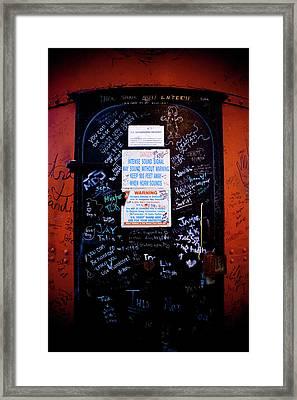 Graffiti Door Framed Print by Sebastian Musial