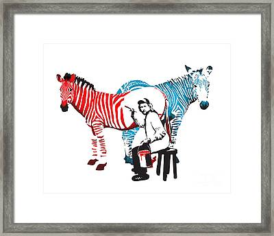 Graffiti Print Of Rembrandt Painting Stripes Zebra Painter Framed Print by Sassan Filsoof