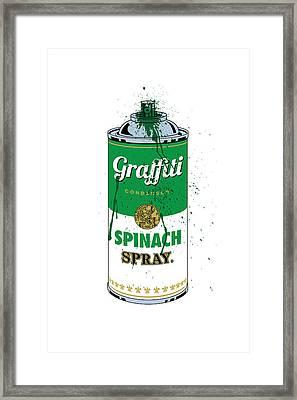 Graffiti Spinach Spray Can Framed Print by Gary Grayson