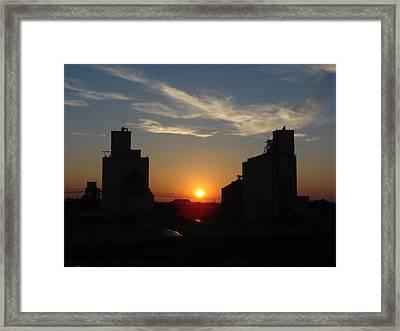 Grain Elevator Sunrise Framed Print by Cary Amos