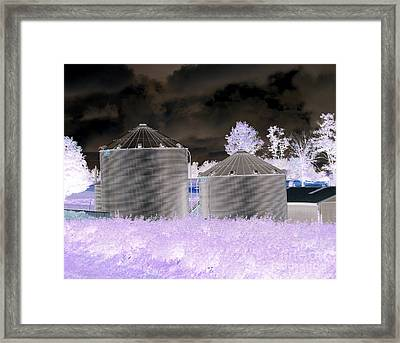 Grain Silos Oneida New York Inverted Effect Framed Print by Rose Santuci-Sofranko