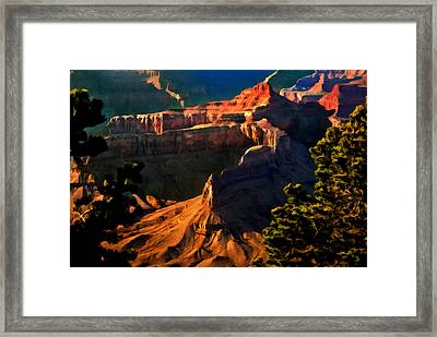 Grand Canyon At Sunset Framed Print by Bob and Nadine Johnston