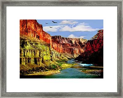 California Condors Grand Canyon Colorado River Framed Print by Bob and Nadine Johnston