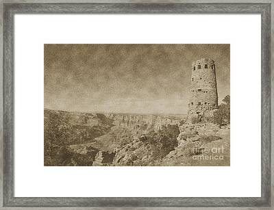 Grand Canyon National Park Mary Colter Designed Desert View Watchtower Vintage Framed Print by Shawn O'Brien