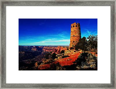 Grand Canyon National Park South Rim Mary Colter Designed Desert View Watchtower Vivid Framed Print by Shawn O'Brien