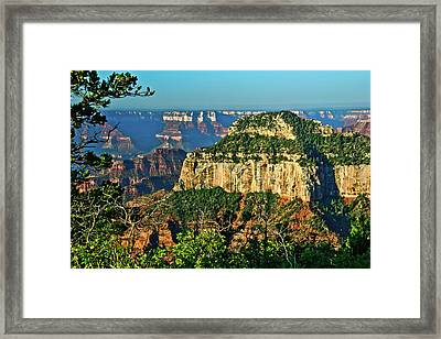 Grand Canyon Peak Angel Point Framed Print by Bob and Nadine Johnston